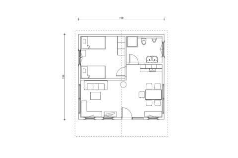 Planritning Fritidshus i 16 cm fyrkantstimmer
